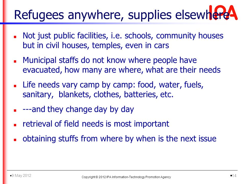 Refugees anywhere, supplies elsewhere n Not just public facilities, i.e.