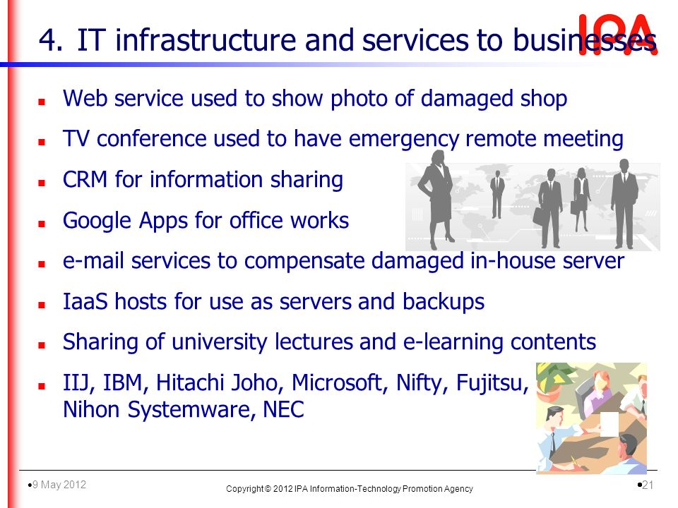 4.IT infrastructure and services to businesses n Web service used to show photo of damaged shop n TV conference used to have emergency remote meeting n CRM for information sharing n Google Apps for office works n e-mail services to compensate damaged in-house server n IaaS hosts for use as servers and backups n Sharing of university lectures and e-learning contents n IIJ, IBM, Hitachi Joho, Microsoft, Nifty, Fujitsu, Nihon Systemware, NEC Copyright © 2012 IPA Information-Technology Promotion Agency 9 May 2012 21