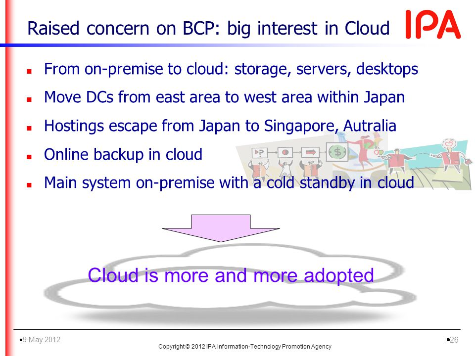 Raised concern on BCP: big interest in Cloud n From on-premise to cloud: storage, servers, desktops n Move DCs from east area to west area within Japa