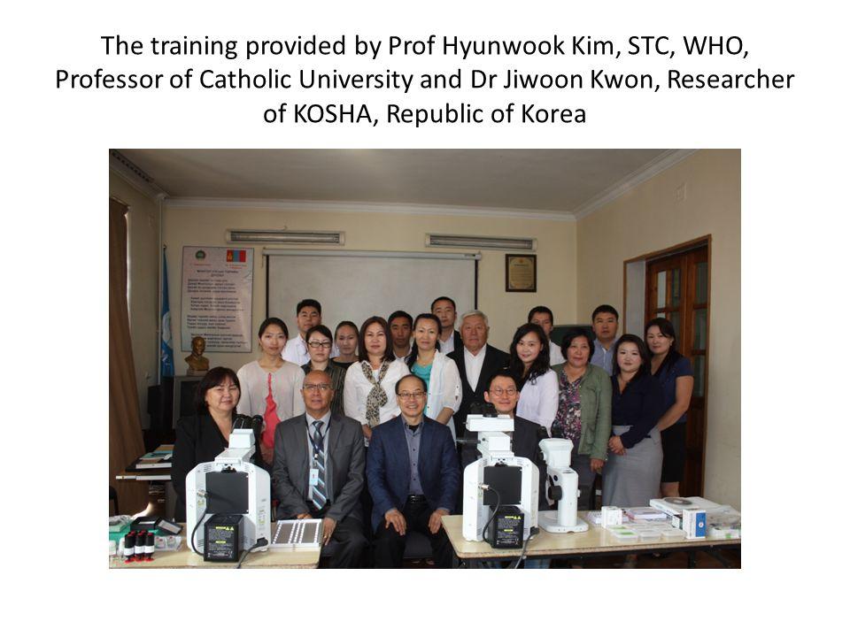 The training provided by Prof Hyunwook Kim, STC, WHO, Professor of Catholic University and Dr Jiwoon Kwon, Researcher of KOSHA, Republic of Korea