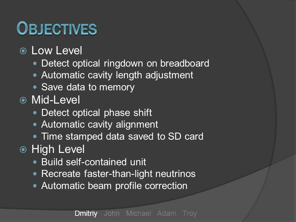 Low Level Detect optical ringdown on breadboard Automatic cavity length adjustment Save data to memory Mid-Level Detect optical phase shift Automatic cavity alignment Time stamped data saved to SD card High Level Build self-contained unit Recreate faster-than-light neutrinos Automatic beam profile correction Dmitriy John Michael Adam Troy