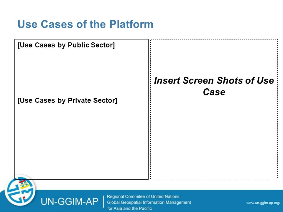 Use Cases of the Platform [Use Cases by Public Sector] [Use Cases by Private Sector] Insert Screen Shots of Use Case
