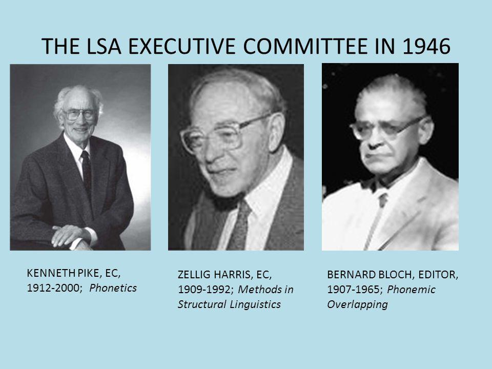 THE LSA EXECUTIVE COMMITTEE IN 1946 KENNETH PIKE, EC, 1912-2000; Phonetics ZELLIG HARRIS, EC, 1909-1992; Methods in Structural Linguistics BERNARD BLO