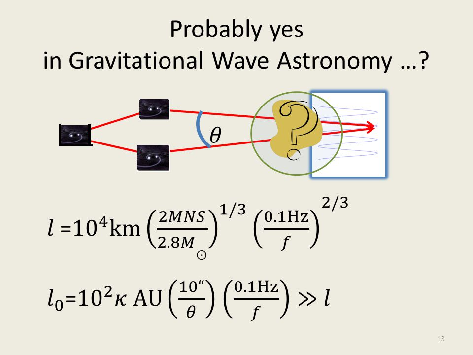 Probably yes in Gravitational Wave Astronomy …? 13