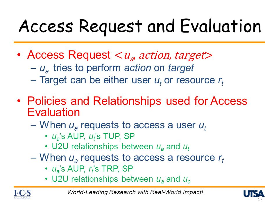 Access Request and Evaluation Access Request –u a tries to perform action on target –Target can be either user u t or resource r t Policies and Relati