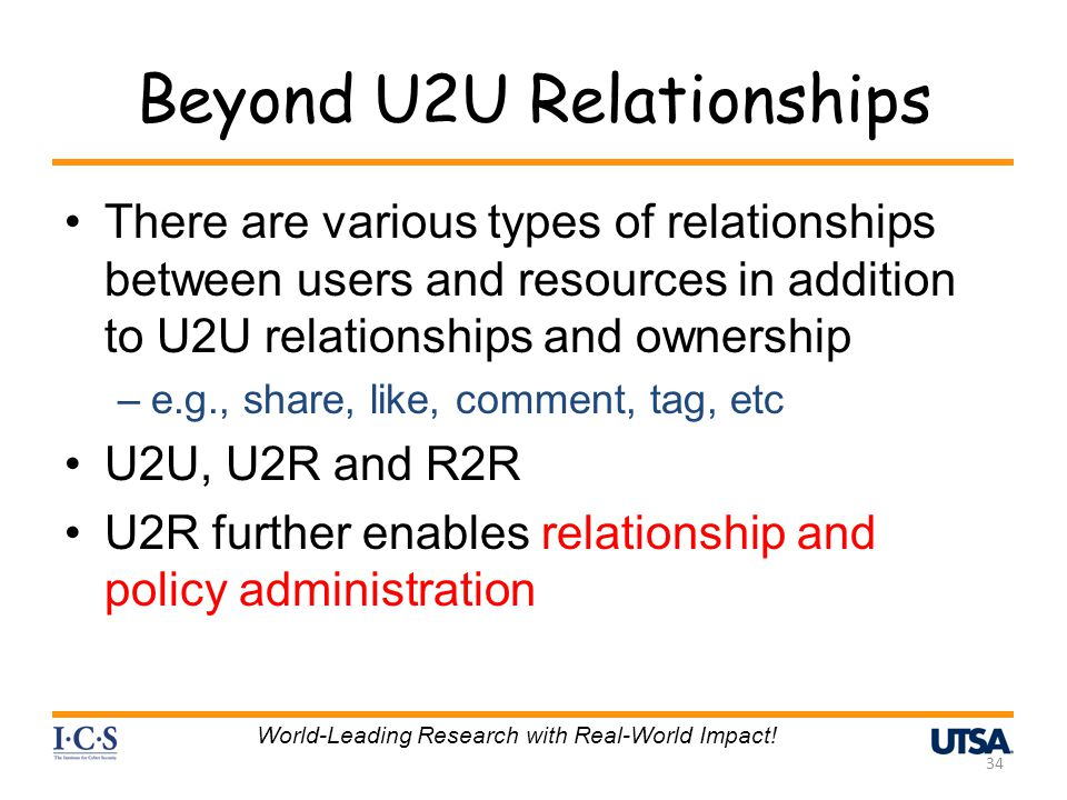Beyond U2U Relationships There are various types of relationships between users and resources in addition to U2U relationships and ownership –e.g., share, like, comment, tag, etc U2U, U2R and R2R U2R further enables relationship and policy administration 34 World-Leading Research with Real-World Impact!