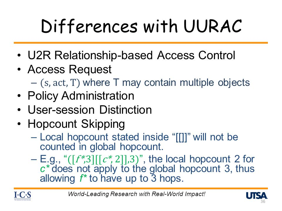 Differences with UURAC U2R Relationship-based Access Control Access Request – (s, act, T) where T may contain multiple objects Policy Administration User-session Distinction Hopcount Skipping –Local hopcount stated inside [[]] will not be counted in global hopcount.