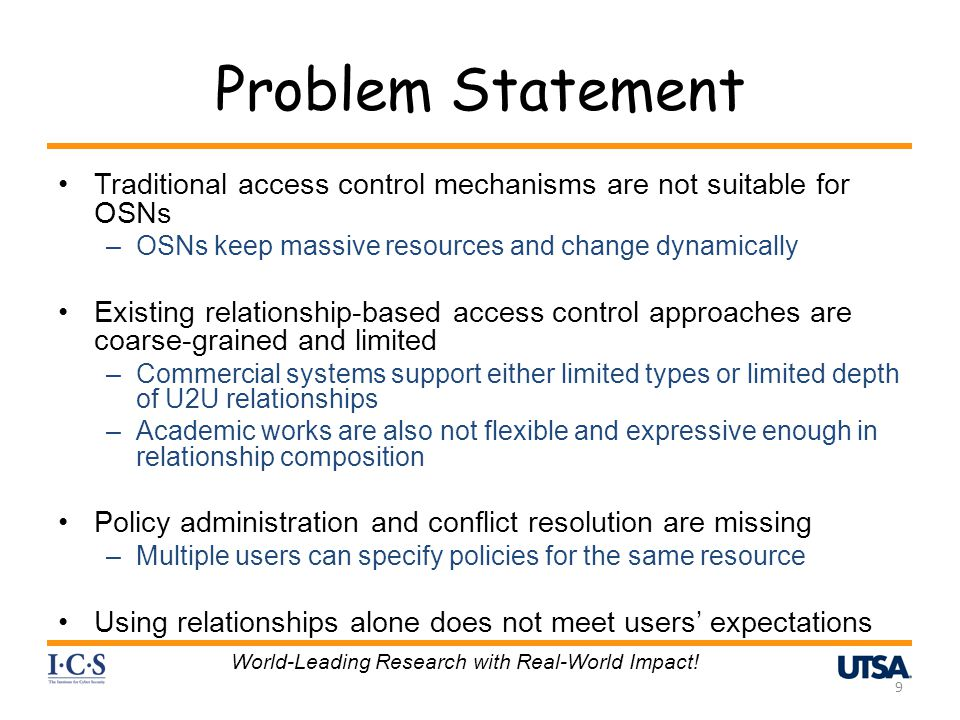 Problem Statement Traditional access control mechanisms are not suitable for OSNs –OSNs keep massive resources and change dynamically Existing relatio