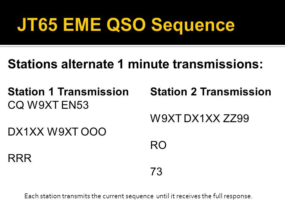 Stations alternate 1 minute transmissions: Station 1 Transmission Station 2 Transmission CQ W9XT EN53 W9XT DX1XX ZZ99 DX1XX W9XT OOO RO RRR 73 Each st