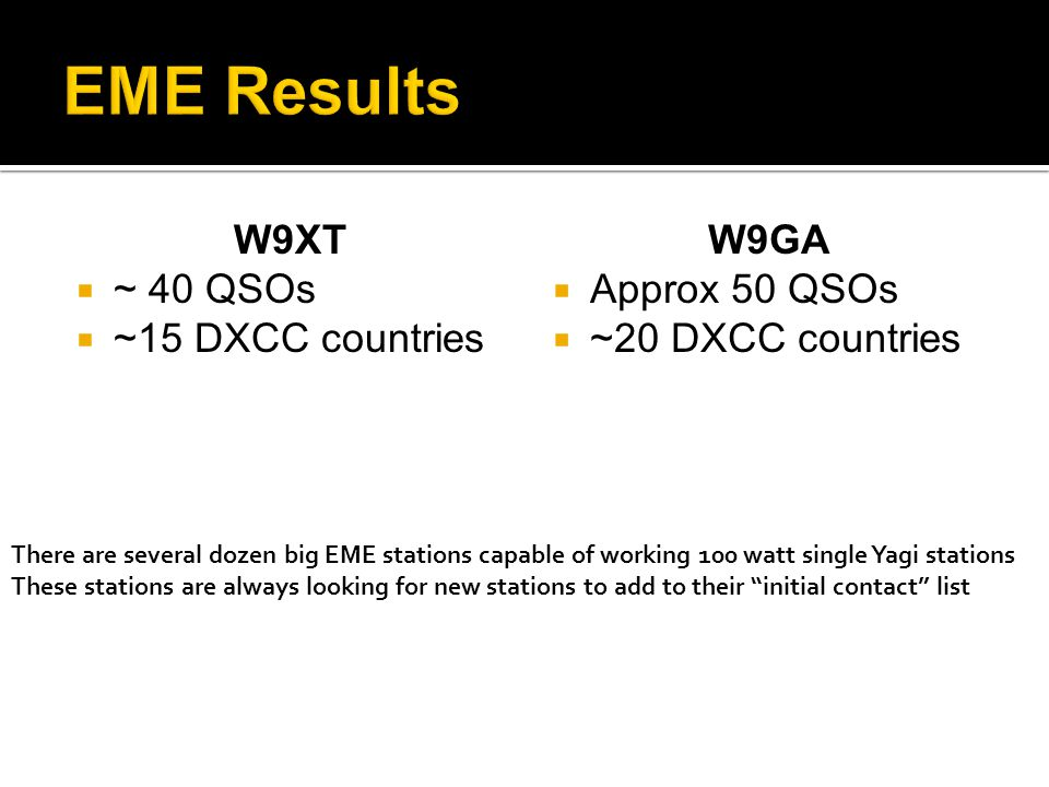 W9XT ~ 40 QSOs ~15 DXCC countries W9GA Approx 50 QSOs ~20 DXCC countries There are several dozen big EME stations capable of working 100 watt single Y
