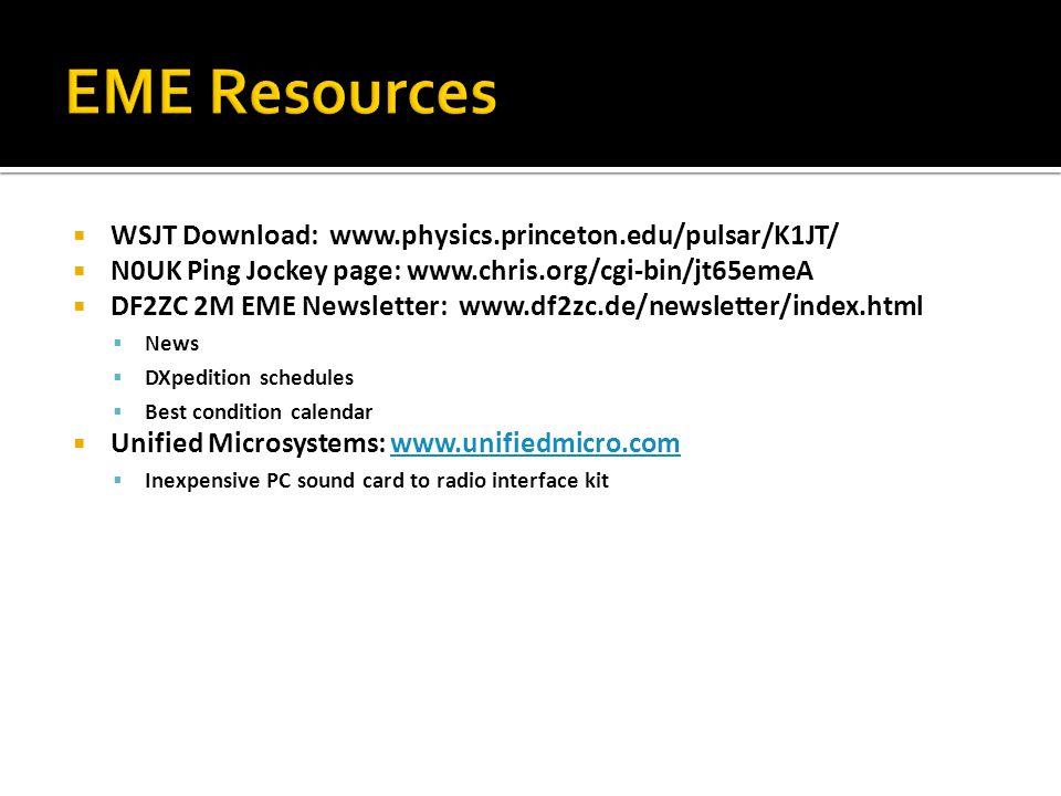 WSJT Download: www.physics.princeton.edu/pulsar/K1JT/ N0UK Ping Jockey page: www.chris.org/cgi-bin/jt65emeA DF2ZC 2M EME Newsletter: www.df2zc.de/news