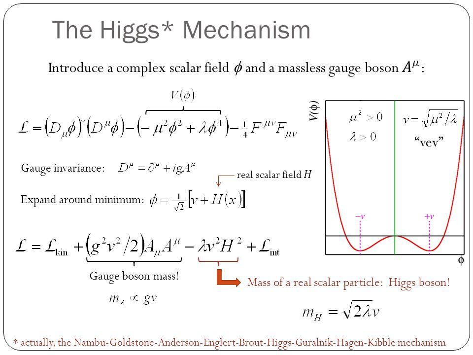 The Higgs* Mechanism * actually, the Nambu-Goldstone-Anderson-Englert-Brout-Higgs-Guralnik-Hagen-Kibble mechanism vev Expand around minimum: Gauge inv