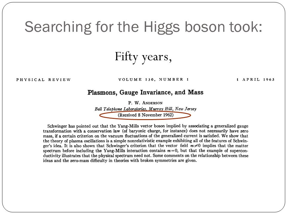 Searching for the Higgs boson took: Fifty years, thousands of people, and billions of dollars. Why all the fuss?