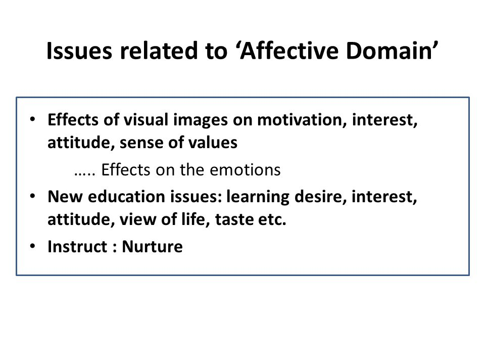 Issues related to Affective Domain Effects of visual images on motivation, interest, attitude, sense of values ….. Effects on the emotions New educati