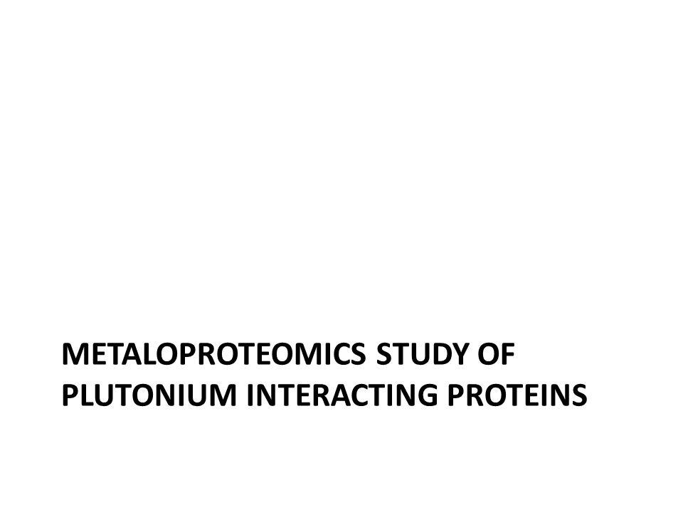METALOPROTEOMICS STUDY OF PLUTONIUM INTERACTING PROTEINS