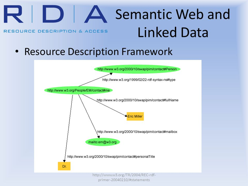 Semantic Web and Linked Data Resource Description Framework http://www.w3.org/TR/2004/REC-rdf- primer-20040210/#statements