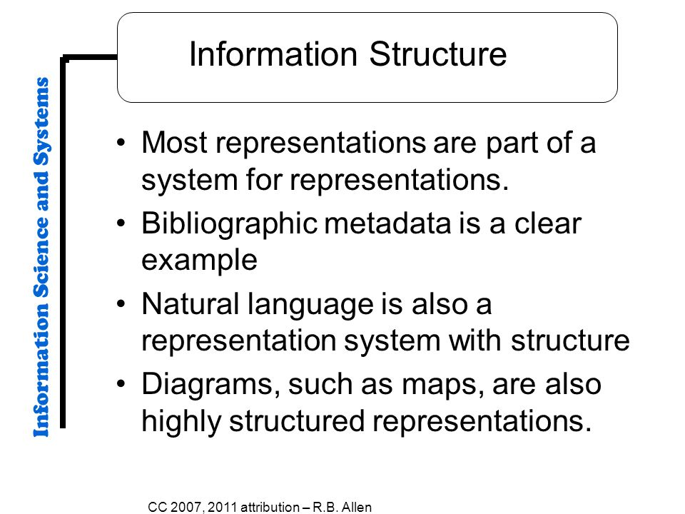 Information Structure Most representations are part of a system for representations.