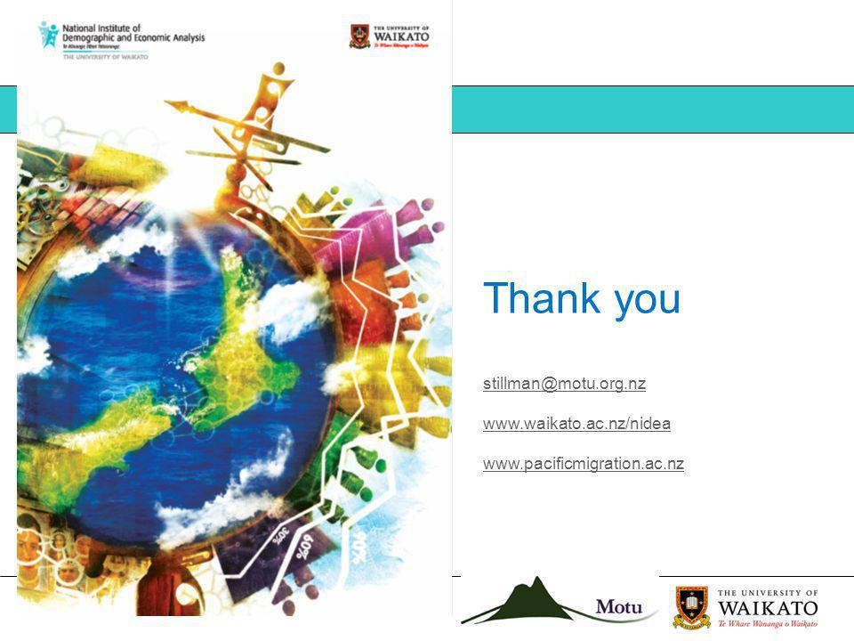Thank you stillman@motu.org.nz www.waikato.ac.nz/nidea www.pacificmigration.ac.nz