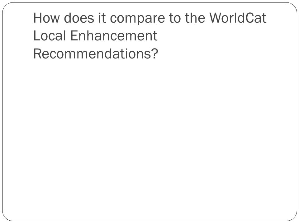 How does it compare to the WorldCat Local Enhancement Recommendations?