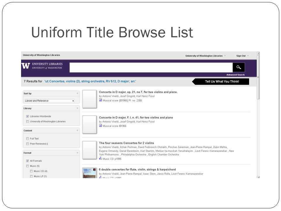 Uniform Title Browse List