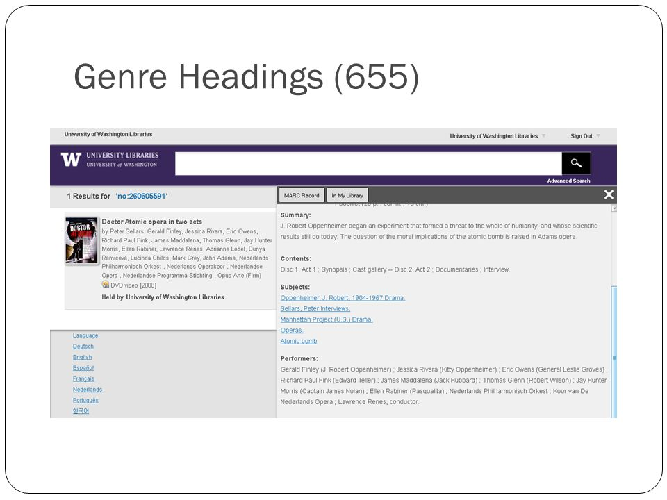 Genre Headings (655)