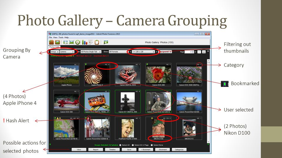 Photo Gallery – Camera Grouping Grouping By Camera Filtering out thumbnails (4 Photos) Apple iPhone 4 (2 Photos) Nikon D100 Category User selected ! H