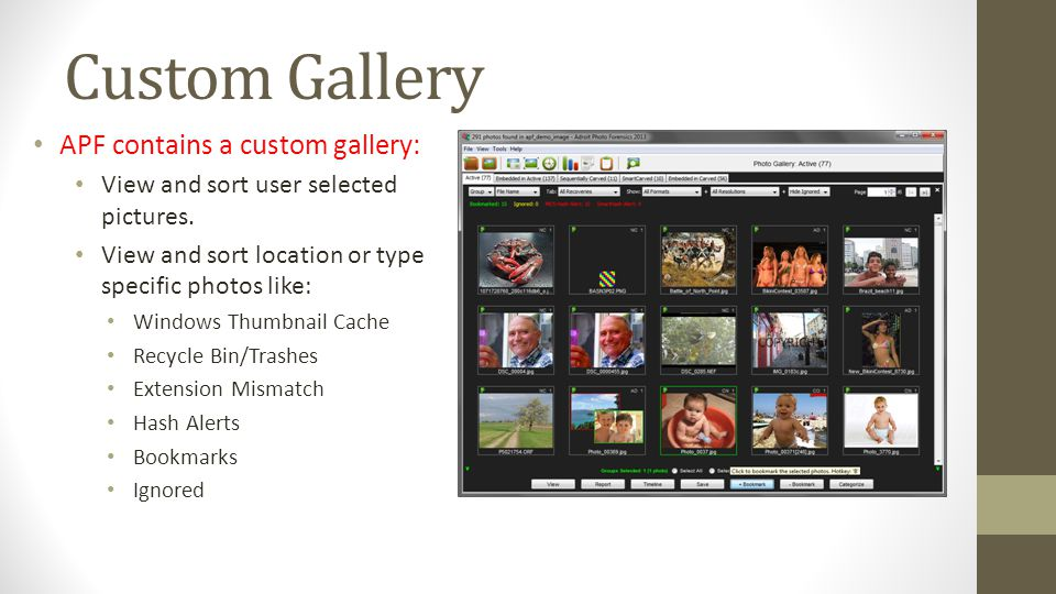 Custom Gallery APF contains a custom gallery: View and sort user selected pictures. View and sort location or type specific photos like: Windows Thumb
