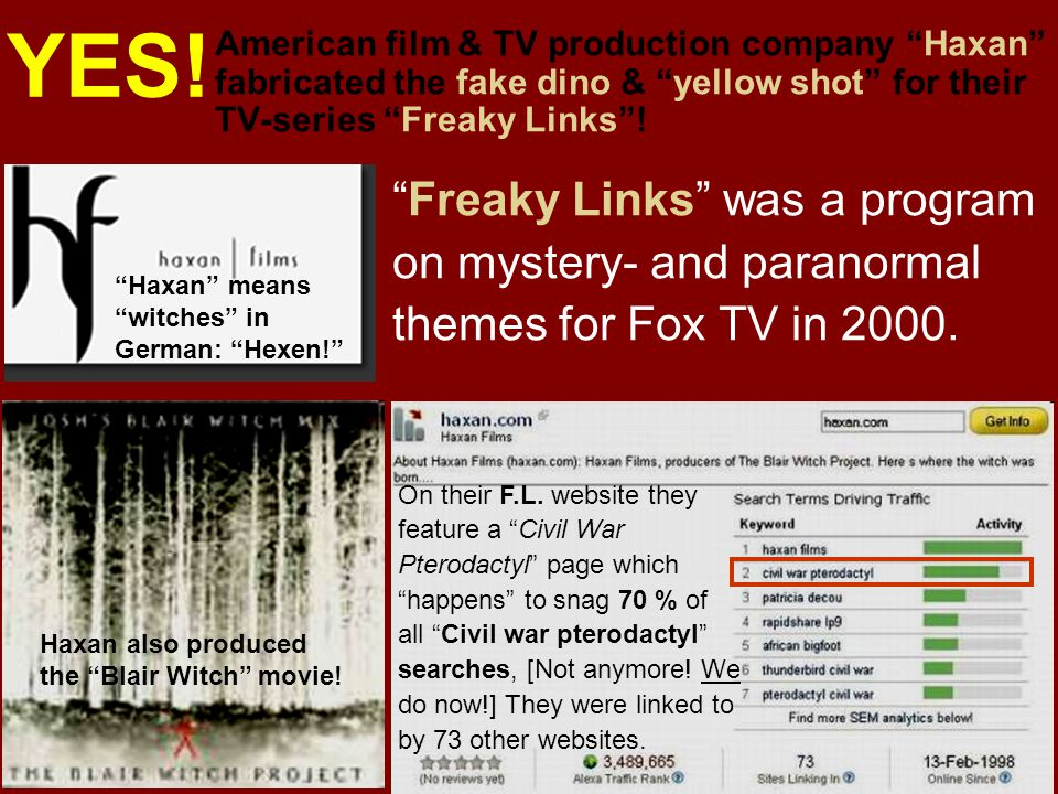 American film & TV production company Haxan fabricated the fake dino & yellow shot for their TV-series Freaky Links! Freaky Links was a program on mys