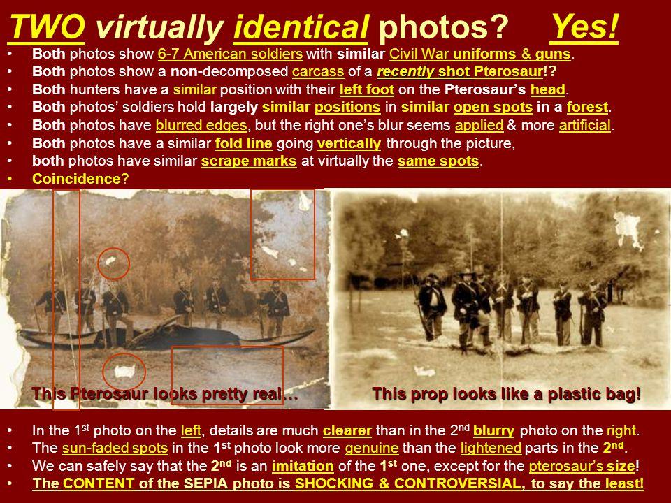 TWO virtually identical photos? Both photos show 6-7 American soldiers with similar Civil War uniforms & guns. recently shotBoth photos show a non-dec