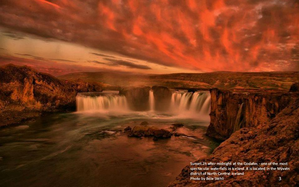 Sunset 2h after midnight at the Godafos - one of the most spectacular waterfalls in Iceland.
