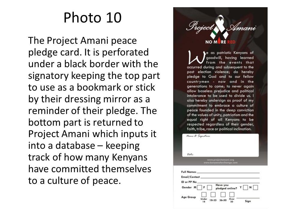Photo 10 The Project Amani peace pledge card.