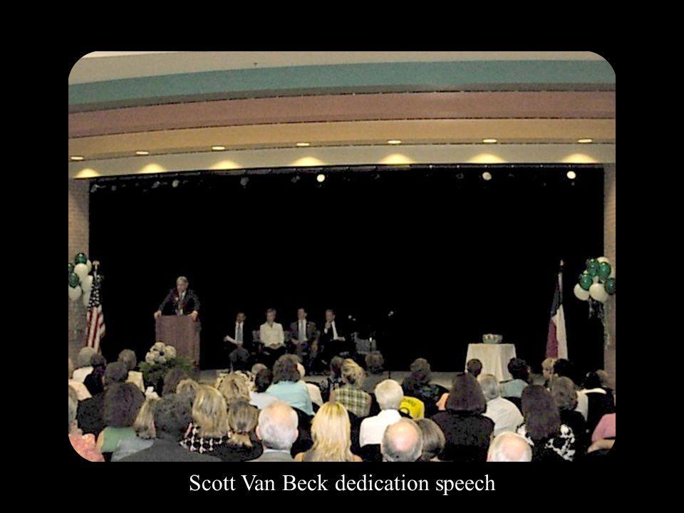 Scott Van Beck dedication speech