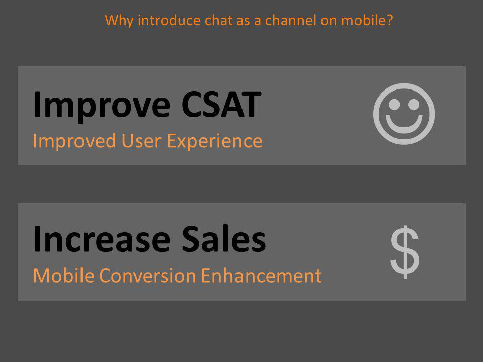 Why introduce chat as a channel on mobile? Increase Sales Mobile Conversion Enhancement $ Improve CSAT Improved User Experience