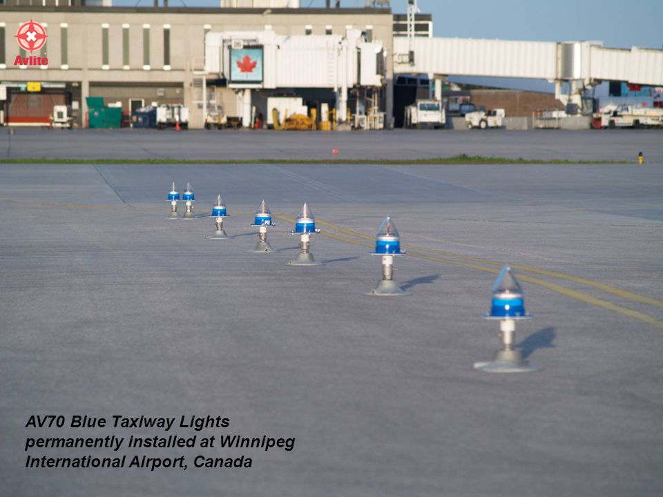 AV70 Blue Taxiway Lights permanently installed at Winnipeg International Airport, Canada