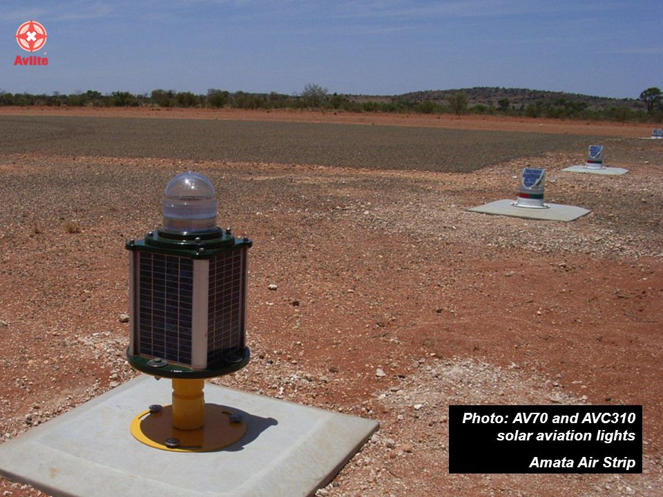 Photo: AV70 and AVC310 solar aviation lights Amata Air Strip