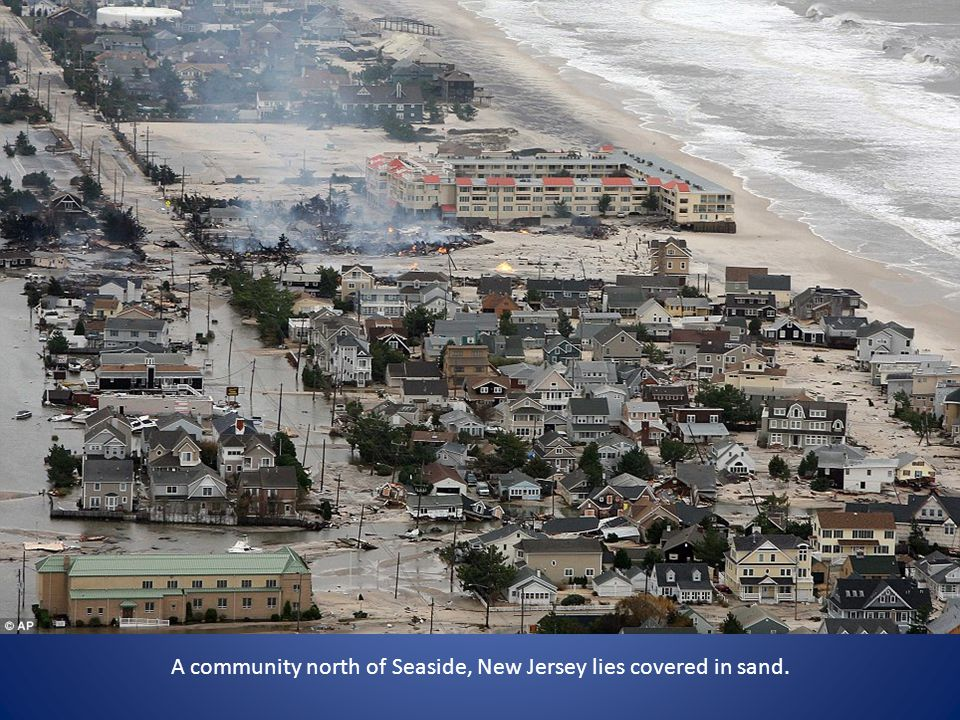 A community north of Seaside, New Jersey lies covered in sand.
