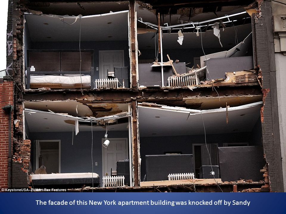 The facade of this New York apartment building was knocked off by Sandy