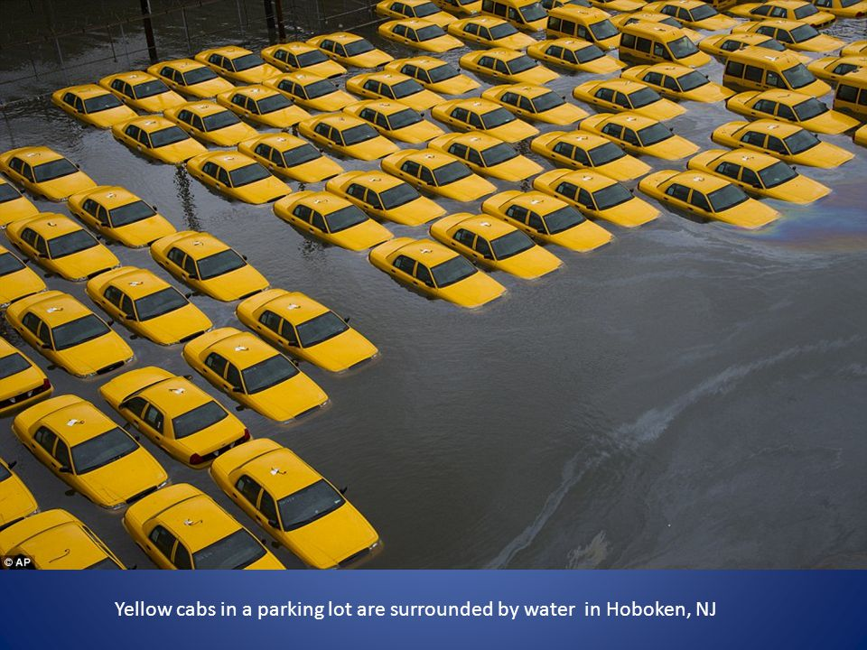Yellow cabs in a parking lot are surrounded by water in Hoboken, NJ