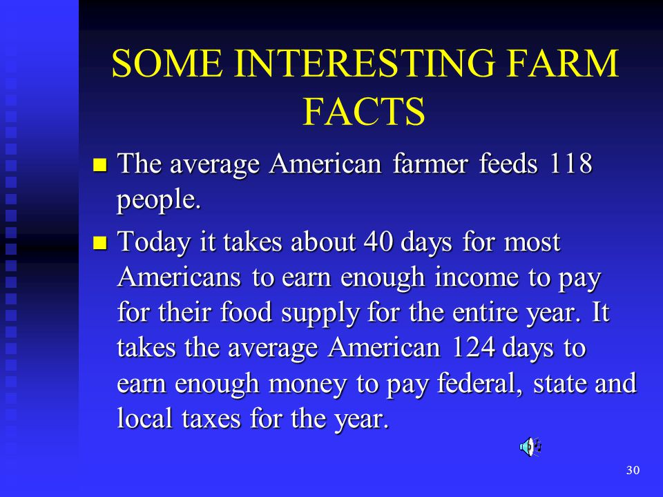 30 SOME INTERESTING FARM FACTS The average American farmer feeds 118 people. The average American farmer feeds 118 people. Today it takes about 40 day