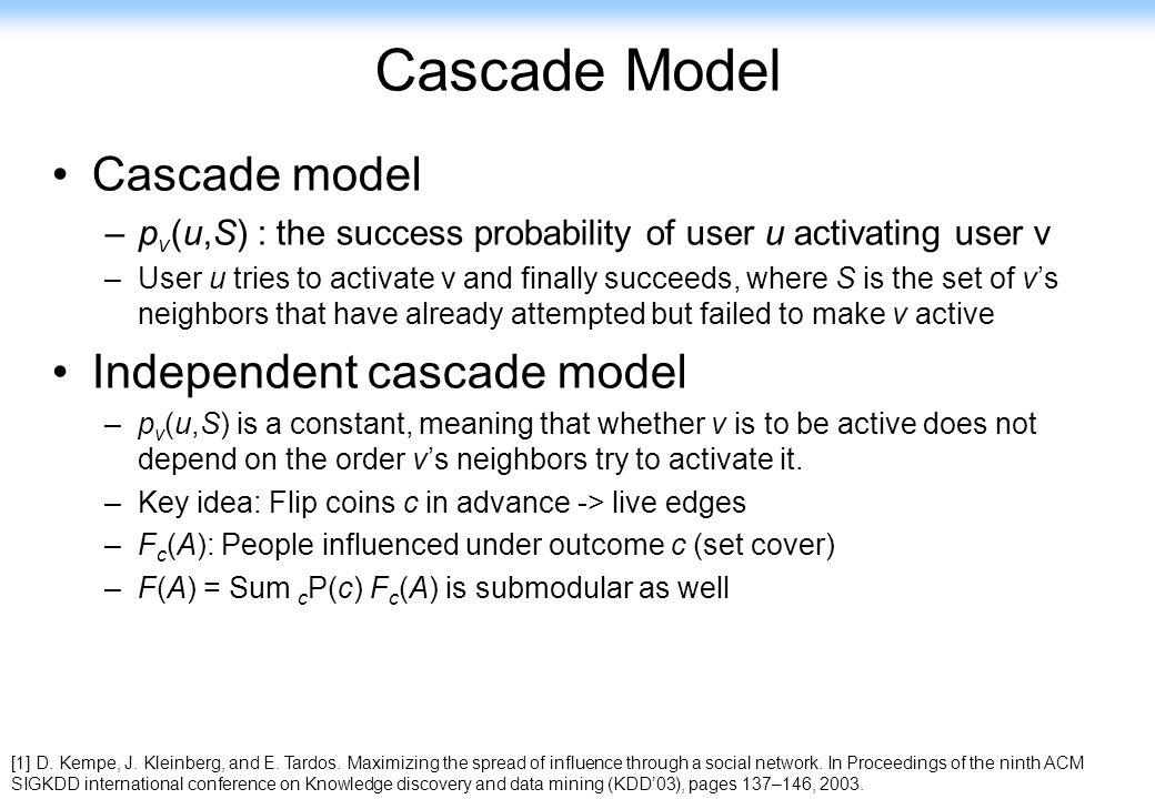 117 Cascade Model Cascade model –p v (u,S) : the success probability of user u activating user v –User u tries to activate v and finally succeeds, whe