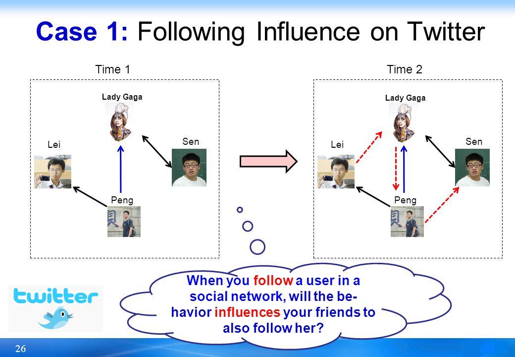 26 Case 1: Following Influence on Twitter Peng Sen Lei Peng Sen Lei When you follow a user in a social network, will the be- havior influences your fr