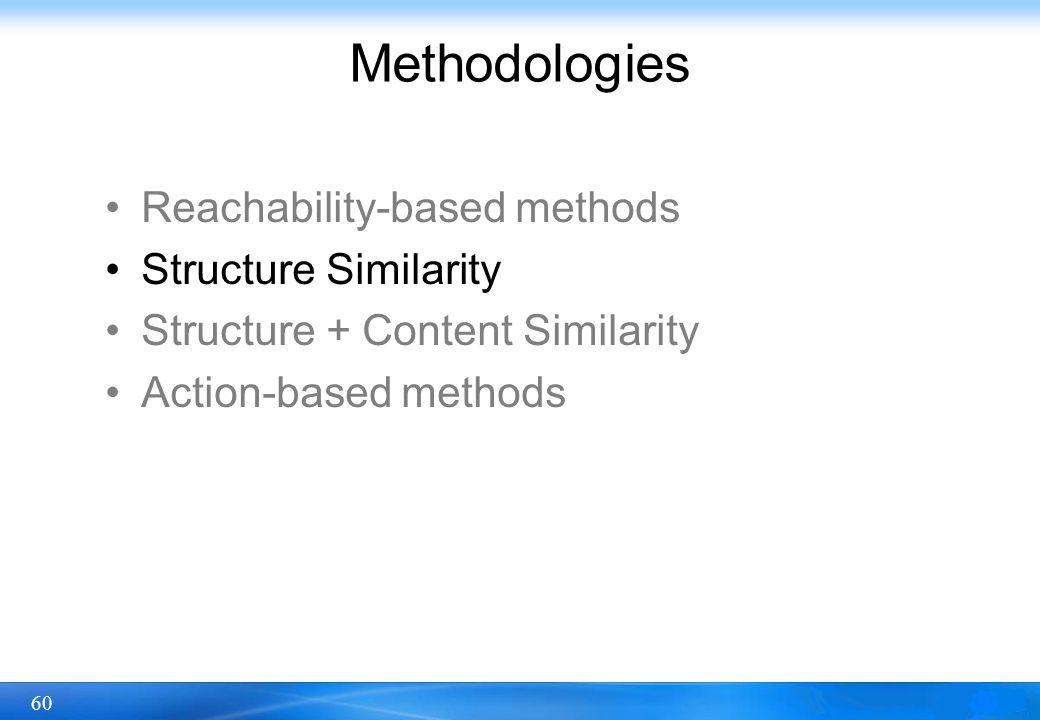 60 Methodologies Reachability-based methods Structure Similarity Structure + Content Similarity Action-based methods