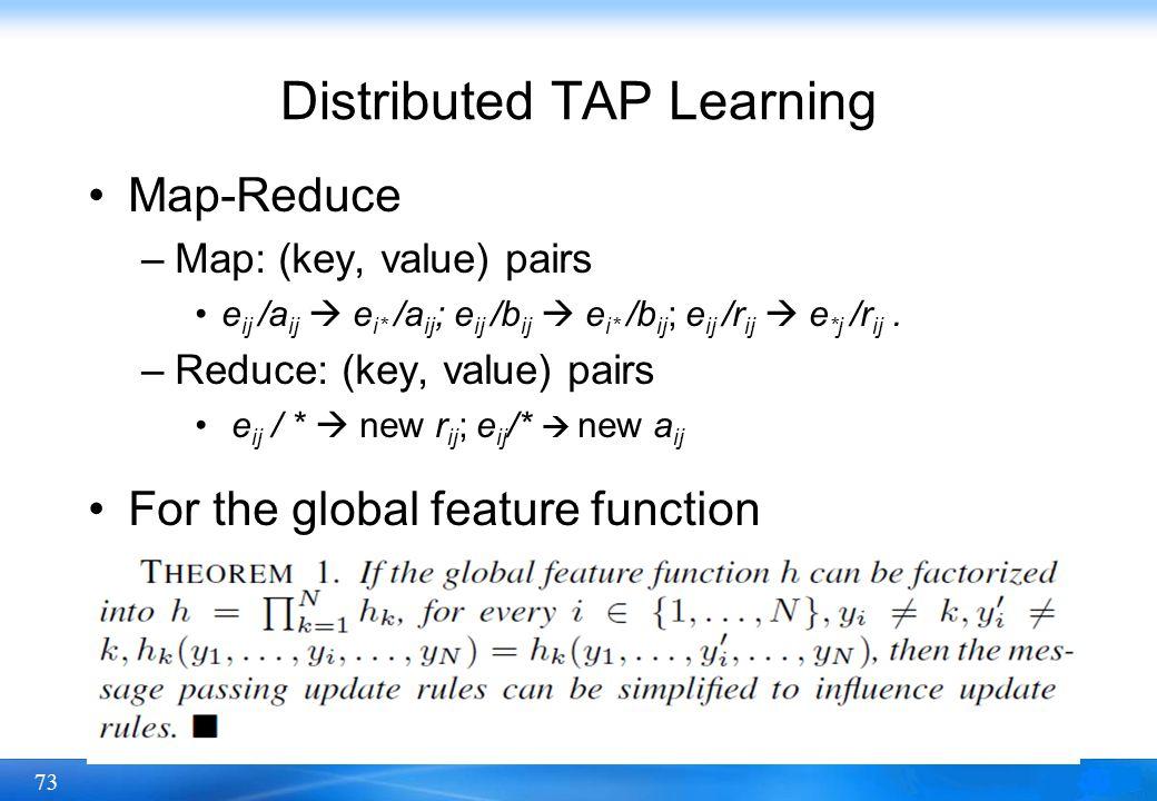 73 Map-Reduce –Map: (key, value) pairs e ij /a ij e i* /a ij ; e ij /b ij e i* /b ij ; e ij /r ij e *j /r ij. –Reduce: (key, value) pairs e ij / * new