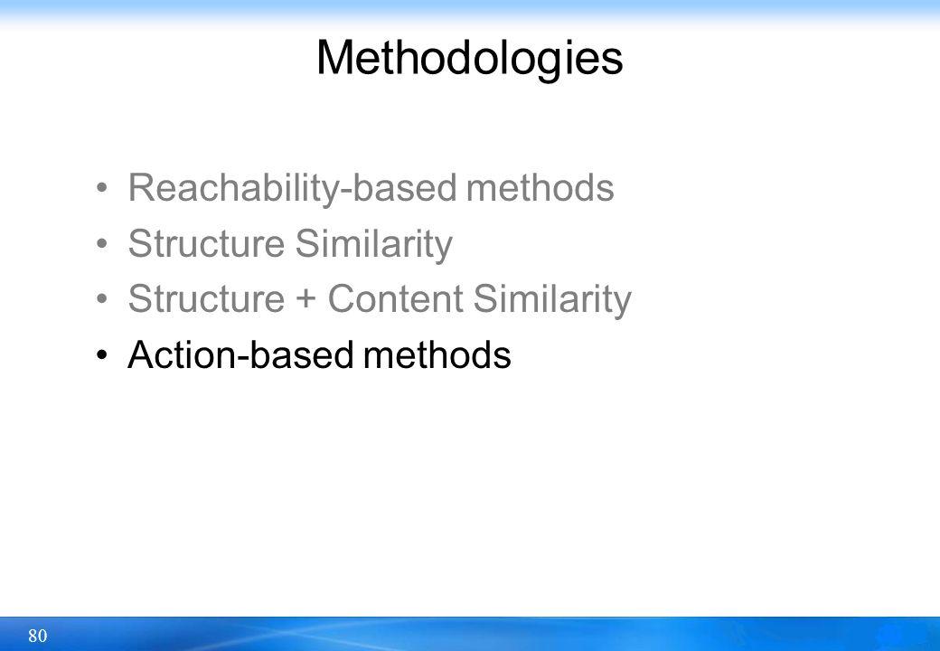 80 Methodologies Reachability-based methods Structure Similarity Structure + Content Similarity Action-based methods