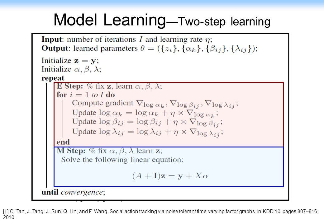 90 Model Learning Two-step learning [1] C. Tan, J. Tang, J. Sun, Q. Lin, and F. Wang. Social action tracking via noise tolerant time-varying factor gr