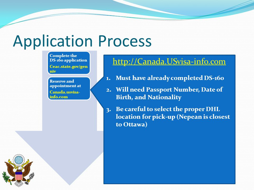 Application Process Complete the DS-160 application Ceac.state.gov/gen niv Reserve and appointment at Canada.usvisa- info.com http://Canada.USvisa-inf
