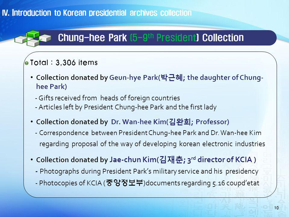 Chung-hee Park (5-9 th President) Collection Collection donated by Geun-hye Park( ; the daughter of Chung- hee Park) - Gifts received from heads of foreign countries - Articles left by President Chung-hee Park and the first lady Collection donated by Dr.