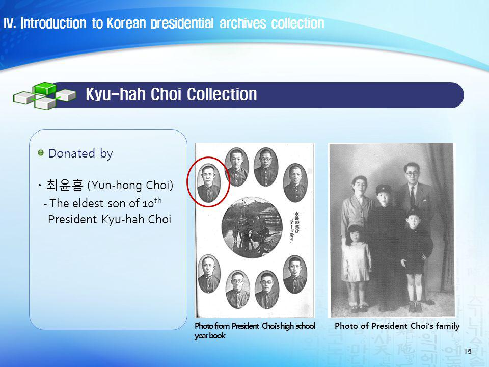 · (Yun-hong Choi) - The eldest son of 10 th President Kyu-hah Choi 15 Donated by Kyu-hah Choi Collection Photo of President Chois familyPhoto from President Chois high school year book IV.