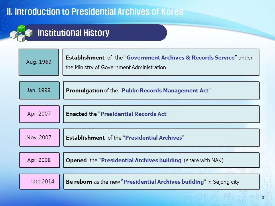 II. Introduction to Presidential Archives of Korea 3 Aug.