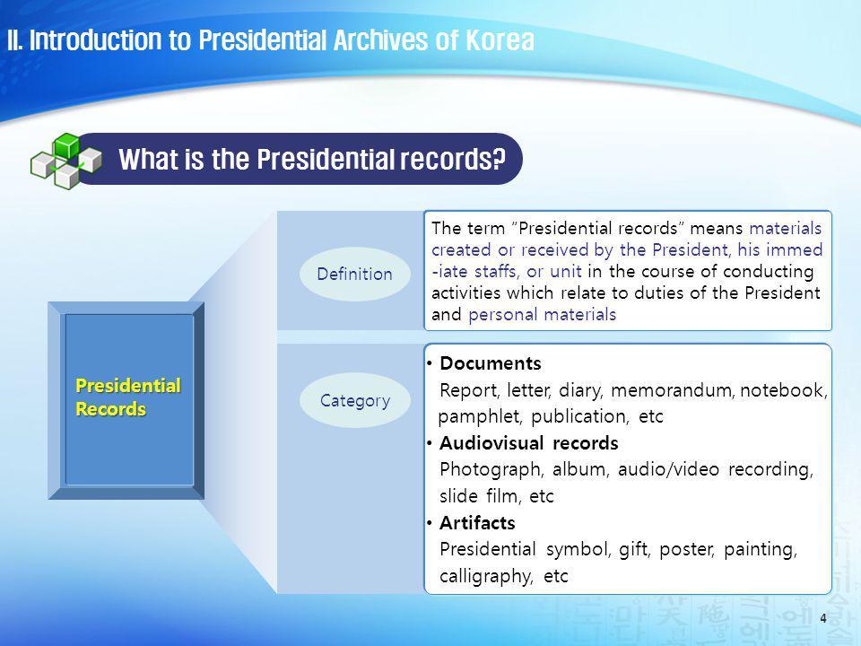 5 7,601 2,040 37,614 2,261 42,535 21,211 17,013 200,814 8,256,478 8,587,567 Rhee, Syngman (1948.7~1960.4) Yun, Po-sun (1960.8~1962.3) Park, Chung-hee (1963.12~1979.10) Choi, Kyu-hah (1979.12~1980.8) Roh, Moo-hyun (2003.2~2008.2) Chun, Doo-hwan (1980.9~1988.2) Roh, Tae-woo (1988.2~1993.2) Kim, Young-sam (1993.2~1998.2) Kim, Dae-jung (1998.2~2003.2) * unit : item Presidential records holdings II.